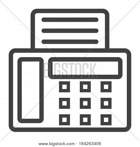 Fax line icon, Contact us and website button, vector graphics, a linear pattern on a white background, eps 10.
