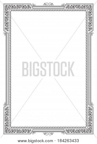 Black ornate framework. Template for certificate, diploma. A4 page proportions.