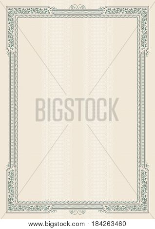 Vintage framework and background. Template for certificate, diploma. A4 page proportions.