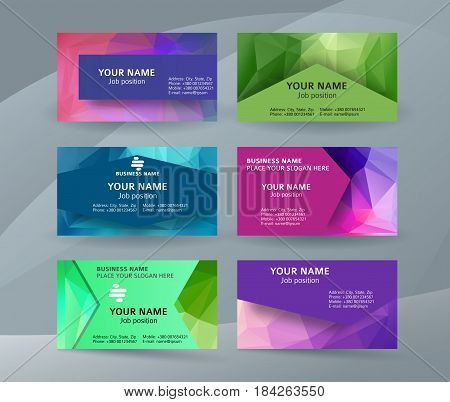 Business Card Background Blue Triangle Mosaic Horizontal Templates06