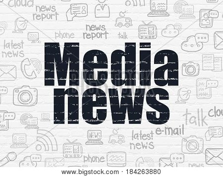 News concept: Painted black text Media News on White Brick wall background with  Hand Drawn News Icons