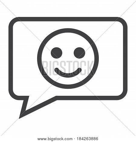Comment with smile line icon, feedback and website button, vector graphics, a linear pattern on a white background, eps 10.