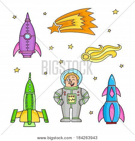 Card with space objects: rockets, stars, comet . Hand-drawn elements in space theme
