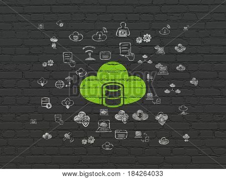 Cloud computing concept: Painted green Database With Cloud icon on Black Brick wall background with  Hand Drawn Cloud Technology Icons