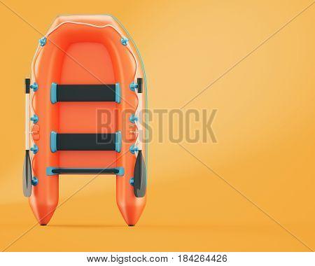 Inflatable boat on orange background. 3d rendering