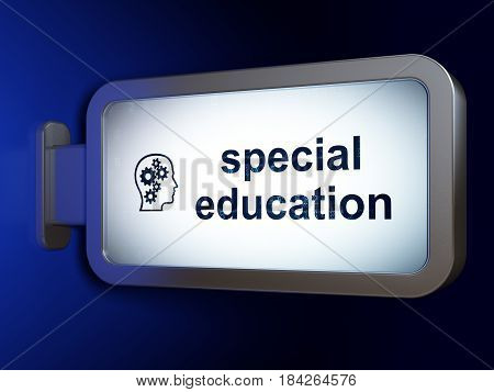Learning concept: Special Education and Head With Gears on advertising billboard background, 3D rendering
