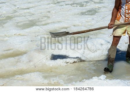 Worker shoveled the salt crystallizes out of the ground in salt farm filled with natural salt from the sea.