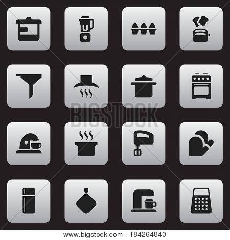 Set Of 16 Editable Cook Icons. Includes Symbols Such As Kitchen Hood, Refrigerator, Filtering And More. Can Be Used For Web, Mobile, UI And Infographic Design.