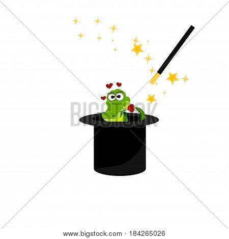 Very high quality original trendy vector illustration of magic hat with romantic crocodile or alligator and wand with sparkles