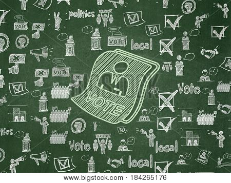 Politics concept: Chalk Green Ballot icon on School board background with  Hand Drawn Politics Icons, School Board