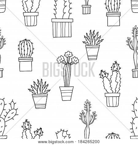 Vector seamless pattern of lovely cacti and plants in pots, hand drawn flowers.