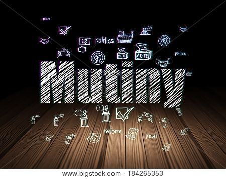 Political concept: Glowing text Mutiny,  Hand Drawn Politics Icons in grunge dark room with Wooden Floor, black background