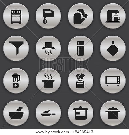 Set Of 16 Editable Cook Icons. Includes Symbols Such As Refrigerator, Grill, Cookware And More. Can Be Used For Web, Mobile, UI And Infographic Design.