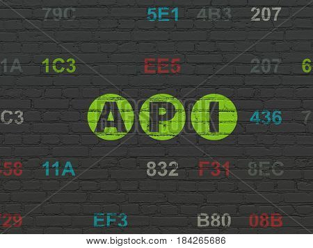 Programming concept: Painted green text Api on Black Brick wall background with Hexadecimal Code