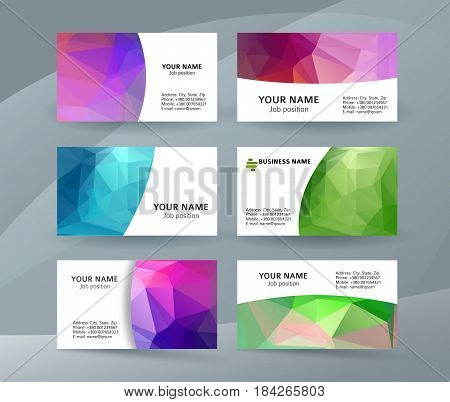 Business Card Background Blue Triangle Mosaic Horizontal Templates09