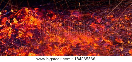 Abstract background of burning red coals. Texture