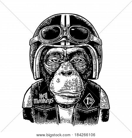 Monkey in the motorcycle helmet and glasses. Hell monkeys and 1 lettering on the waistcoat. Vintage black engraving illustration for poster and t-shirt design bike club. Isolated on white background