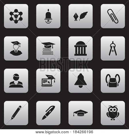 Set Of 16 Editable School Icons. Includes Symbols Such As Studying Boy, Literature, Schoolbag And More. Can Be Used For Web, Mobile, UI And Infographic Design.