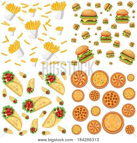 Fastfood restaurant colorful frame black background poster burger pizza sandwich hotdog vector illustration.