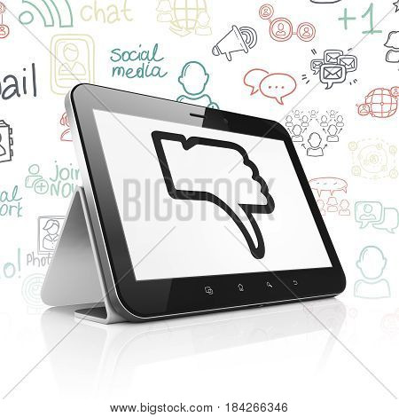 Social media concept: Tablet Computer with  black Thumb Down icon on display,  Hand Drawn Social Network Icons background, 3D rendering