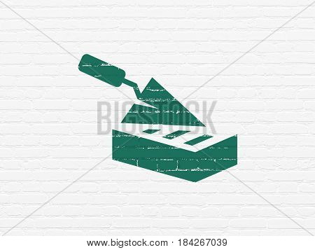 Construction concept: Painted green Brick Wall icon on White Brick wall background