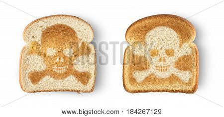 Burnt toast with image of skull and crossbones. Isolated on white