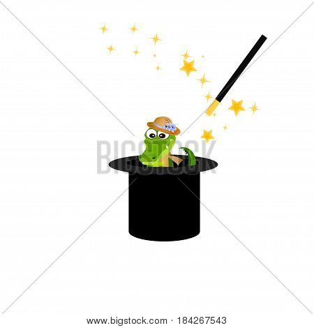 Very high quality original trendy vector illustration of magic hat with crocodile or alligator and wand with sparkles