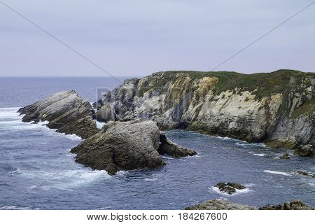 Cliffs of the north coast of spain on the Cantabrian sea in Asturias