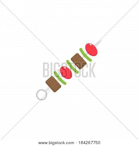 Shish kebab flat icon, food drink elements, skewers sign, a colorful solid pattern on a white background, eps 10.