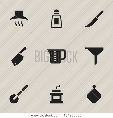 Set Of 9 Editable Food Icons. Includes Symbols Such As Mocha Grinder, Kitchen Hood, Sword And More. Can Be Used For Web, Mobile, UI And Infographic Design.