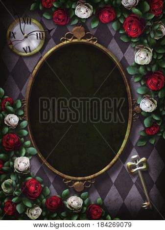 Alice in Wonderland. Red  roses and white roses on  chess background. Clock and key. Wonderland background. Rose flower frame. Oval frame. 3D Illustration