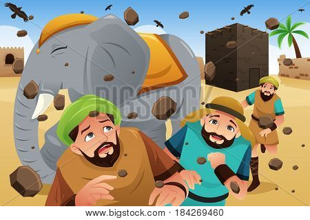 A vector illustration of Islam Story of the Owners of the Elephant