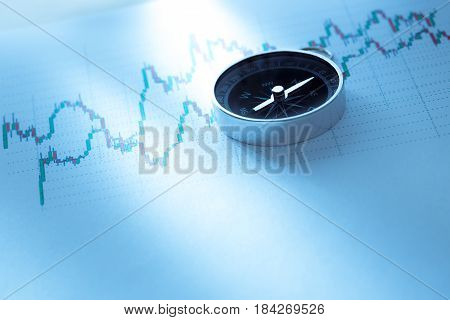 Compass On Stock Market Data Chart