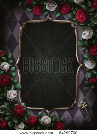 Alice in Wonderland. Red  roses and white roses on  chess background. Wonderland background. Rose flower frame. Gold frame. 3D Illustration.