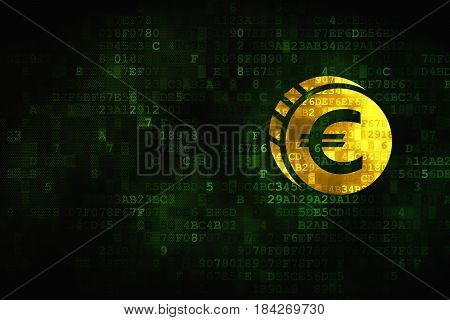 Currency concept: pixelated Euro Coin icon on digital background, empty copyspace for card, text, advertising