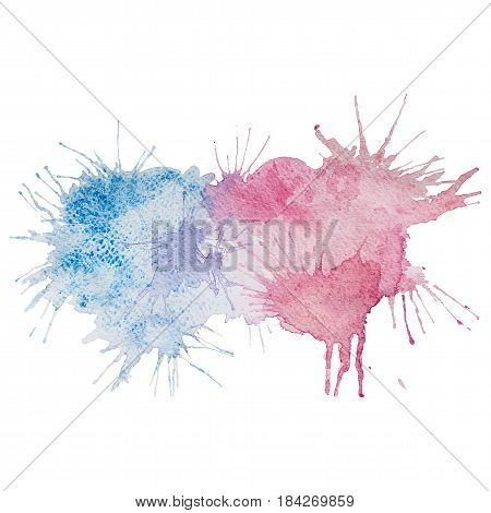 Vector watercolor hand drawn light blue and pink grunge stains with splashes, isolated on the white background