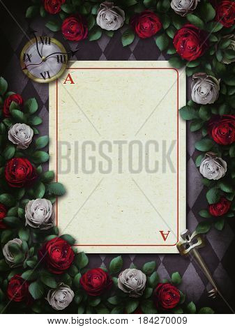 Alice in Wonderland. Red roses and white roses on chess background. Clock and key, playing card. Rose flower frame. 3D Illustration