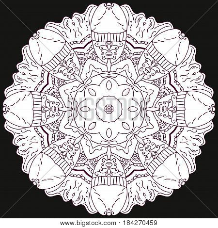 Uncolored symmetric tracery for colouring. Can be used as adult coloring book, coloring page, card, invitation.