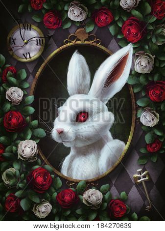 White rabbit from Alice in Wonderland. Portrait in oval frame, clock, key, red roses and white roses on  chess background. The character from Alice in Wonderland. 3D Illustration