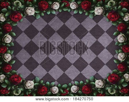 Alice in Wonderland. Red roses and white roses on  chess background. Wonderland background. Rose flower frame. 3D illustration