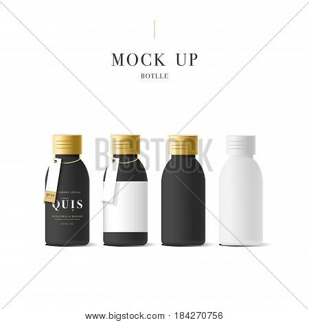 Set of realistic black cosmetic cream container. Mock up bottle. Gel, powder, balsam and oil, with golden design label. Containers for bulk mixtures.