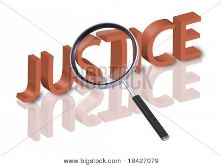 magnifying glass enlarging part of 3D word justice in red with reflections