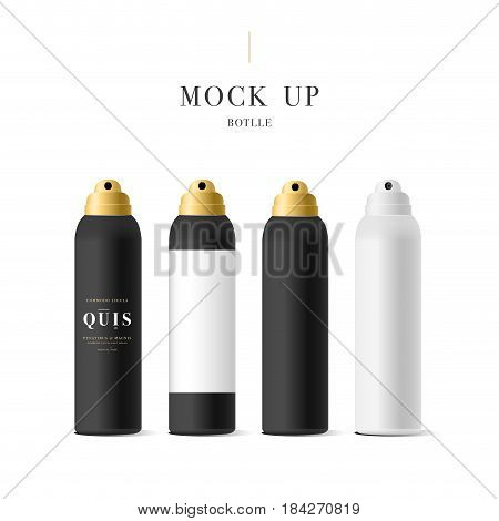 Set of realistic black bottle for cosmetic. Realistic spray cleaner, plastic bottle, trigger spray. Mock up bottle. Cosmetic vial, shampoo, oil, gel. Design label, sticker for beauty bottle