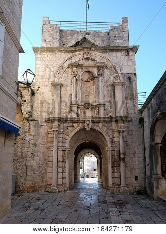 KORCULA, CROATIA - NOVEMBER 09: View of the Main (Land) Gate of the old town, in Korcula, Dalmatia, Croatia on November 09, 2016.