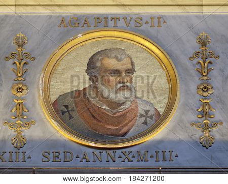 ROME, ITALY - SEPTEMBER 05: Pope Agapetus II was Pope from 10 May 946 to his death in 955 in the basilica of Saint Paul Outside the Walls, Rome, Italy on September 05, 2016.