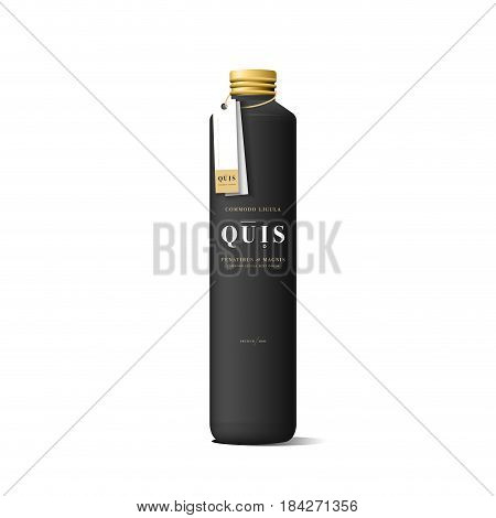 Realistic black cosmetic cream container. Mock up bottle. Gel, powder, balsam and oil, with golden design label. Containers for bulk mixtures.