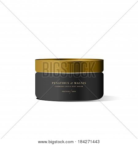 Realistic black cosmetic cream container for cream lotion. Mock up bottle. Gel, powder, balsam, with golden design label. Containers for bulk mixtures.
