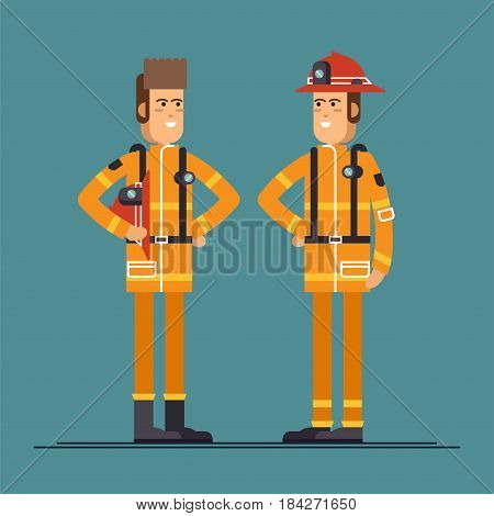 Two firefighter officers in personal protecting equipment standing. Cool vector characters on firemen rescue workers male characters in flat design