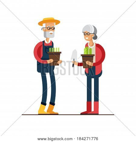 Vector flat illustration of gardener characters. Elderly man and woman holding flower pots. Hobby of the elderly people