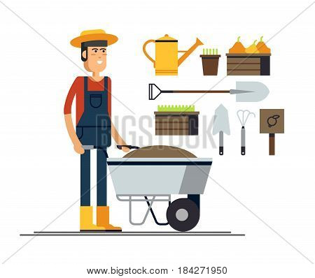 Vector flat illustration of gardener character. Young man holding wheelbarrow of earth. Hobby of the elderly people
